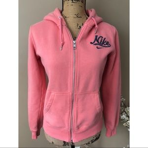 Nike Pink With Gray Logo Zip Up Hoodie Sweatshirt